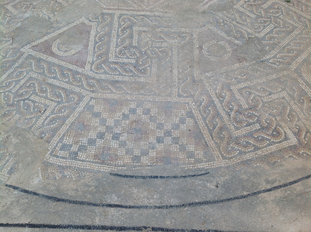 Detail of restored mosaic found on North Tell