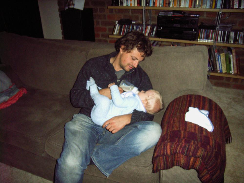Sam feeding Jacob, Pakenham, 2006
