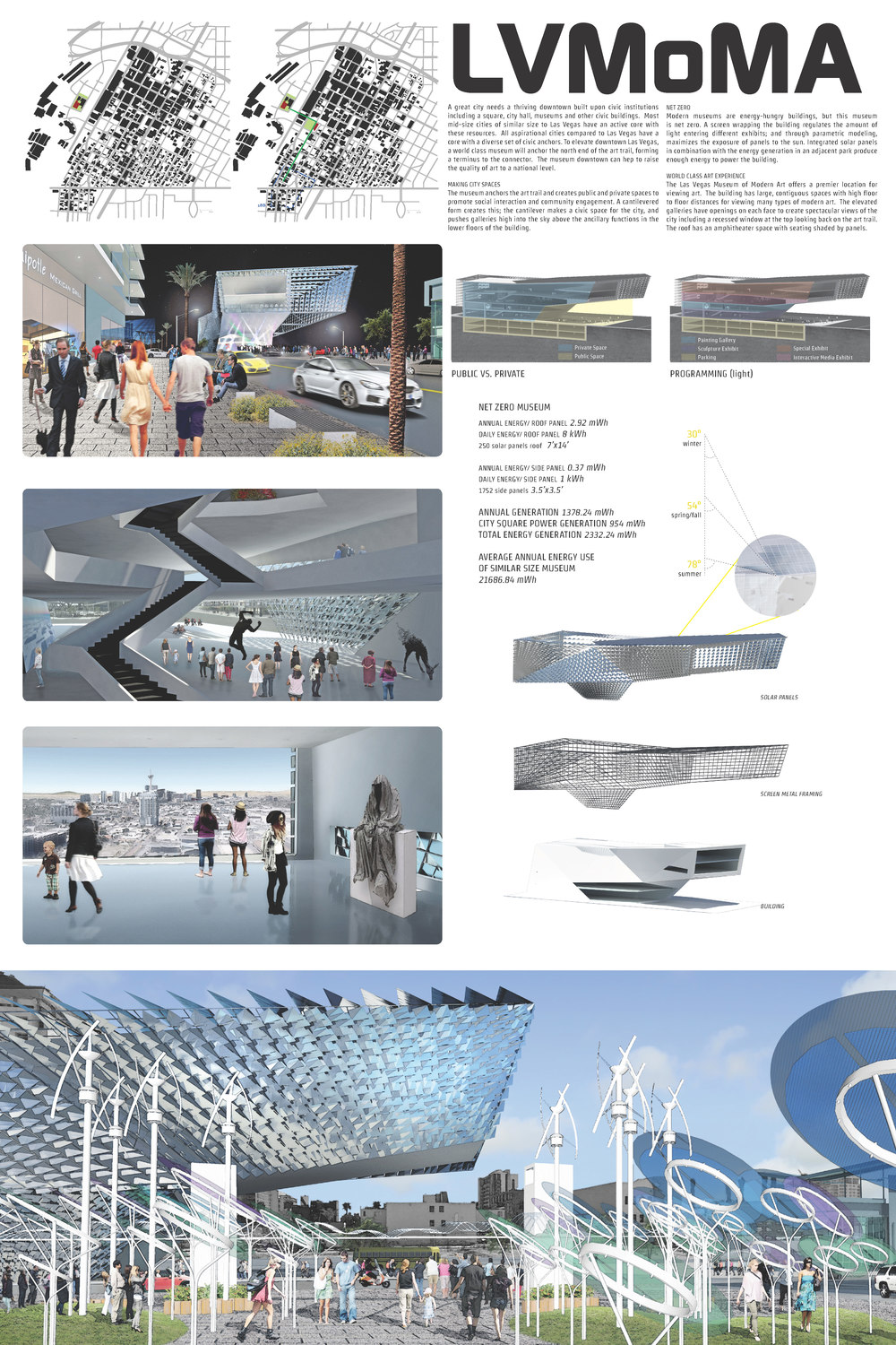 Presentation Board for a proposed Las Vegas Museum of Modern Art to anchor the 'Art Trail' from the 18B to the City Hall. Noted for citation award by the AIA Las Vegas.  Esther Garcia, project manager/lead.