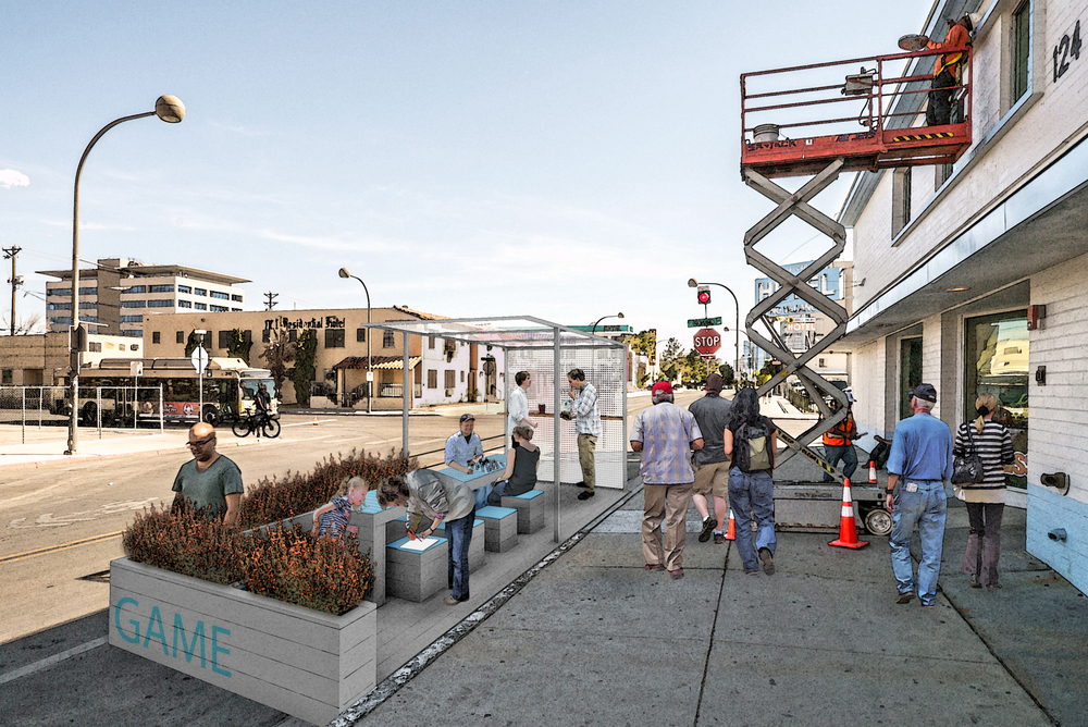 Rendered image of the Carson Parklet:  Named 'The Waiting Game.'