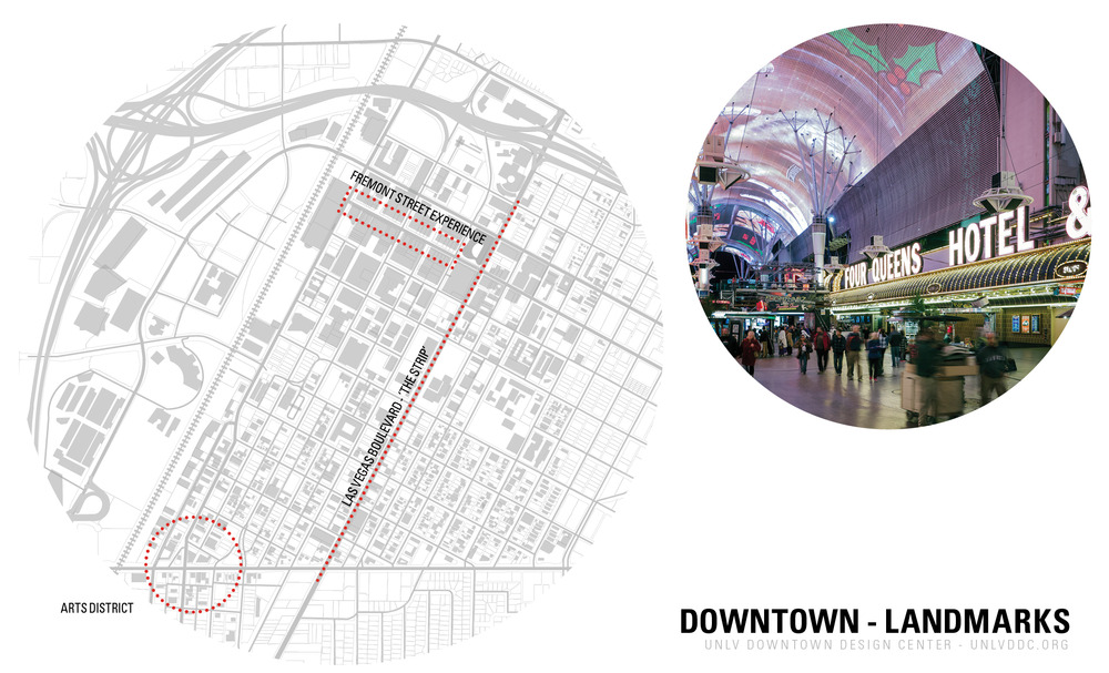 An overview of downtown, showing key landmarks, Las Vegas Boulevard, and the Arts District.
