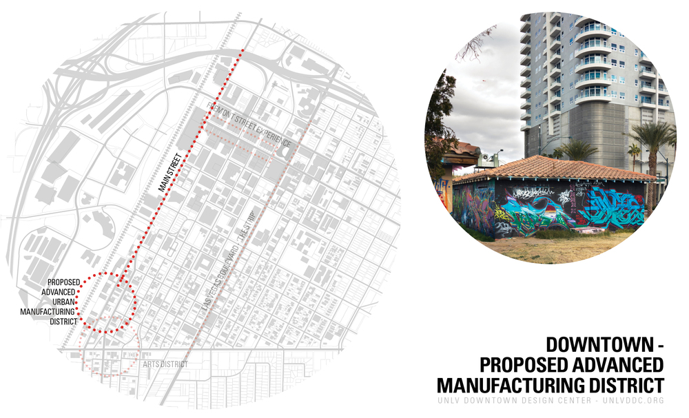 Locating the Advanced Manufacturing District.  The district sites by the arts district, has a good relation to the interstate, and is by the industrial zone of the downtown.