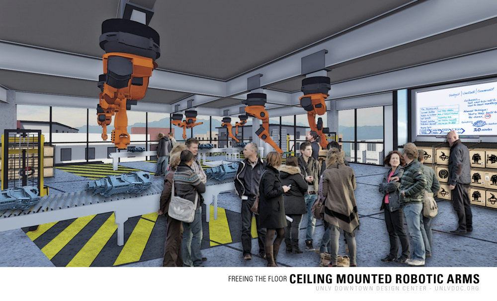 Machines such as robot arms may be ceiling mounted to assist with having a flexible floor for different configurations.