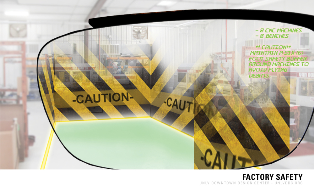 The factory floor should be a neutral color - potential advances in technology like Google Glass may help with worker safety by pointing out in color safe zones in the class over the neutral colored areas in the space.