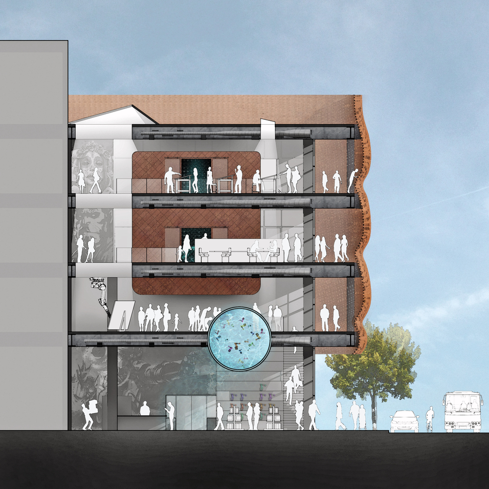 A cross section of the building.  The building should have an active ground floor, including a space for gathering and display - noted on the right, and should have art, drawn here as a 'robot arm seahorse aquarium, and murals.