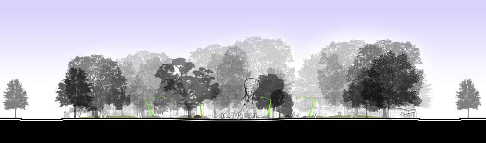 A cross section of our design for the park, showing the size of the central plaza - it is an event space.