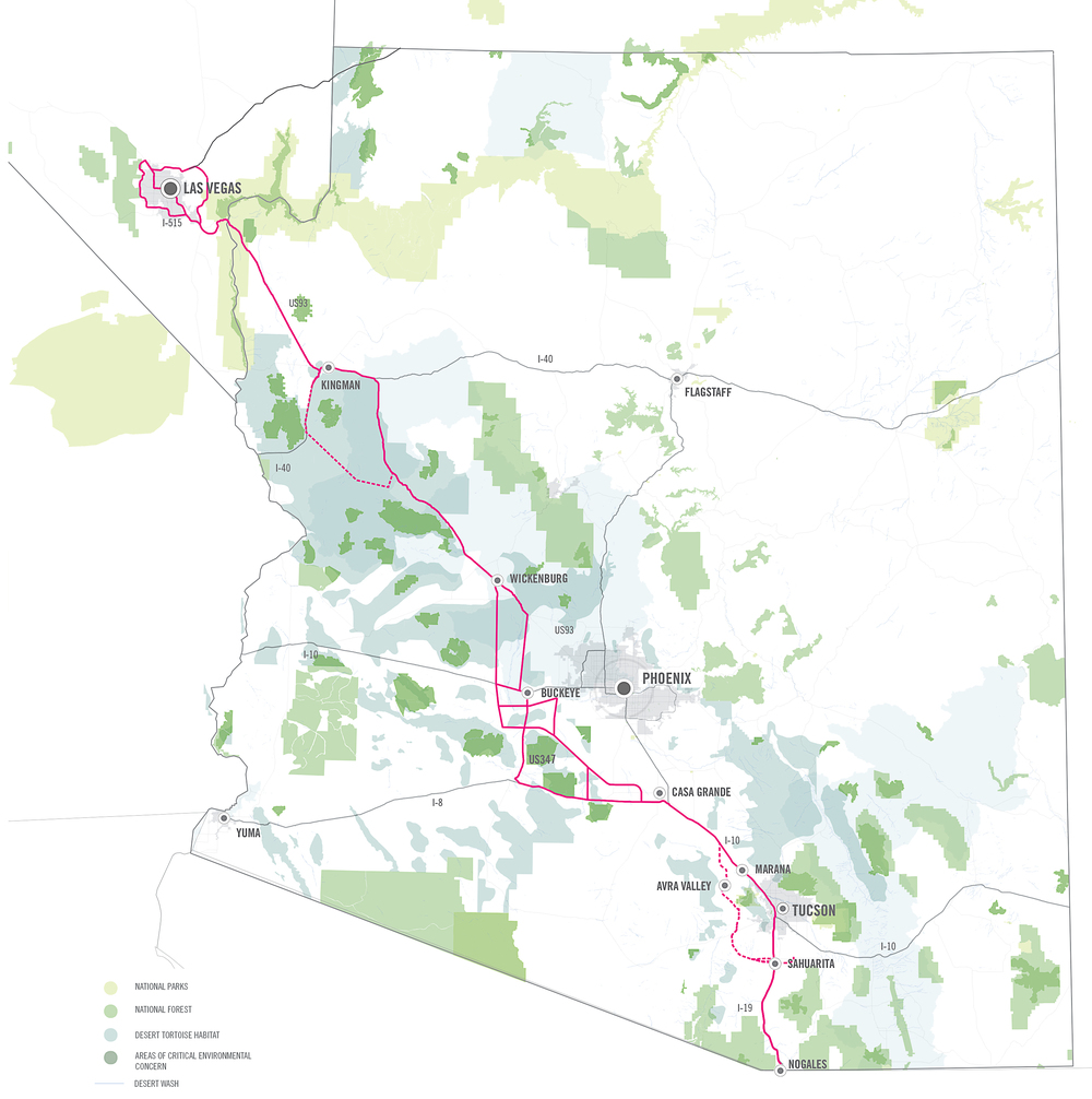 A view of the proposed corridor.  The team on this project examined the area from just north of Wickenburg to Las Vegas.