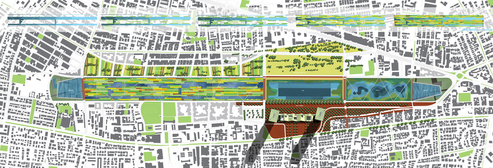 A view of the plan. The 'chinampas' area to the left, the center community lake, and the constructed wetlands on the right compose the central water feature.