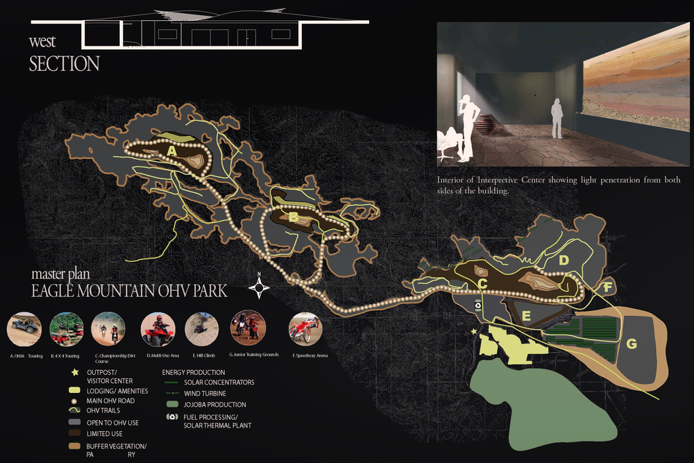 The plan of the complex features challenging trails for OHV users due to the altered topography.  Local energy powers homes and businesses reclaimed in the town.  Local energy is important due to the remote location of the site. (click to see lightbox view of image)