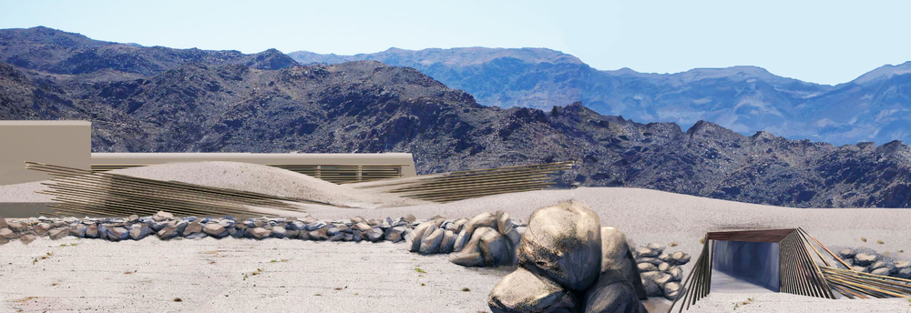 A view of the interpretive center.  The earth shelter minimizes materials needed to bring to the site, is a good thermal strategy for the desert and formally responds to Native American vernacular. (click to see lightbox view of image)