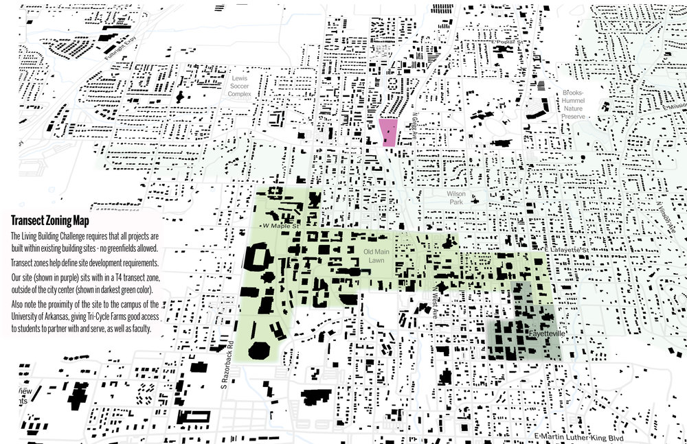 The map above shows transect zones (denser darker from T-6 in downtown Fayetteville) and site location in purple.    (click to see bigger image version.)