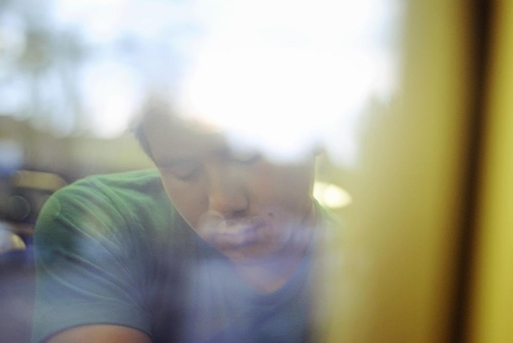 steven sleeping on the plane