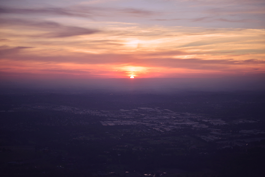 the sunset from on top of the mountain