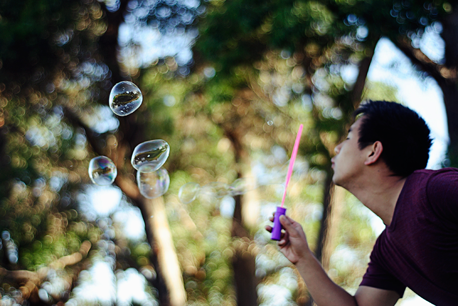 my cousin blowing bubbles on christmas day