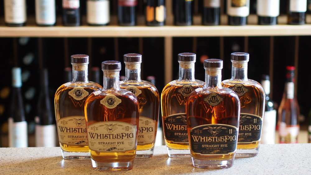 WhistlePig basket   WhistlePig   WhistlePig produces a top shelf, 100-proof, straight rye whiskey, aged for at least ten years through a unique double-barrel process. Included in the basket is a bottle of 10 year Straight Rye Whiskey, a bar mat, a t-shirt, and four WhistlePig glasses.   Retail Value: $150