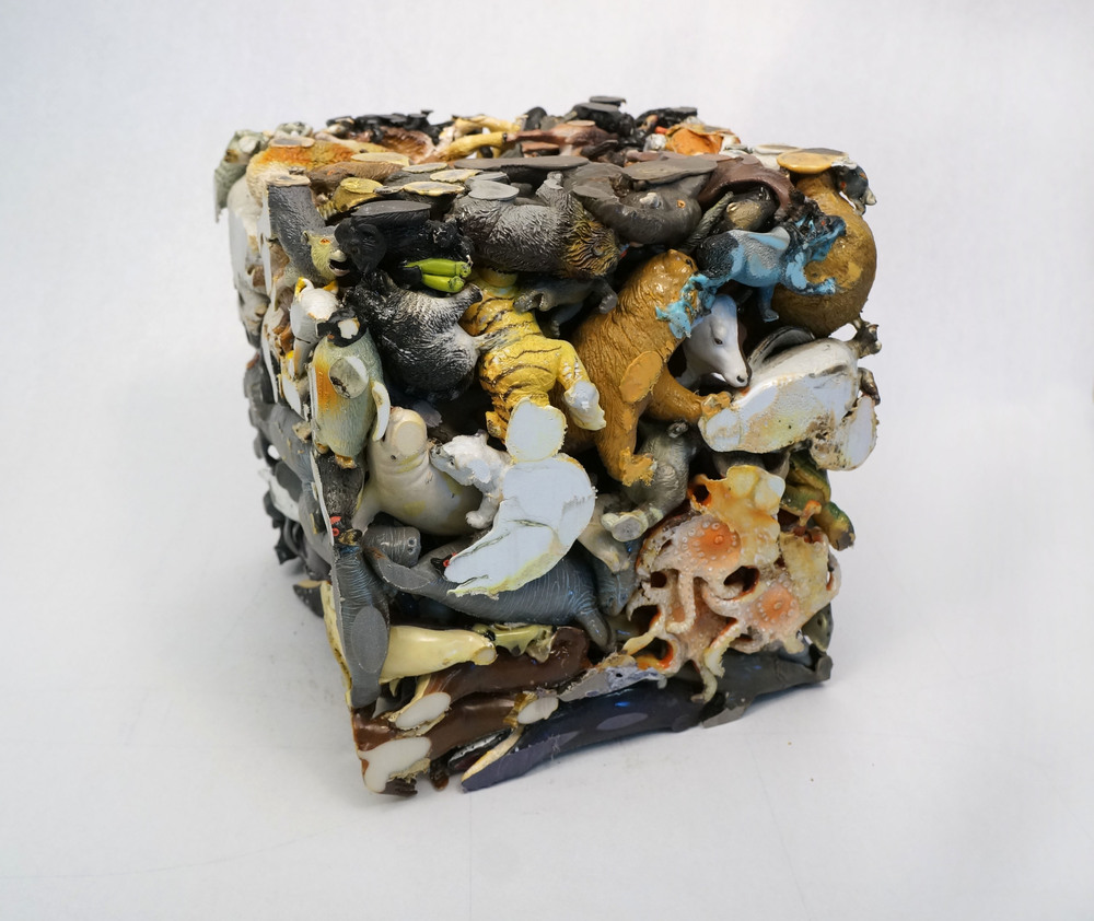 """Animal Cube""   Lucia Thomé   2014  Plastic Animals   12""x 12"" x 12"""