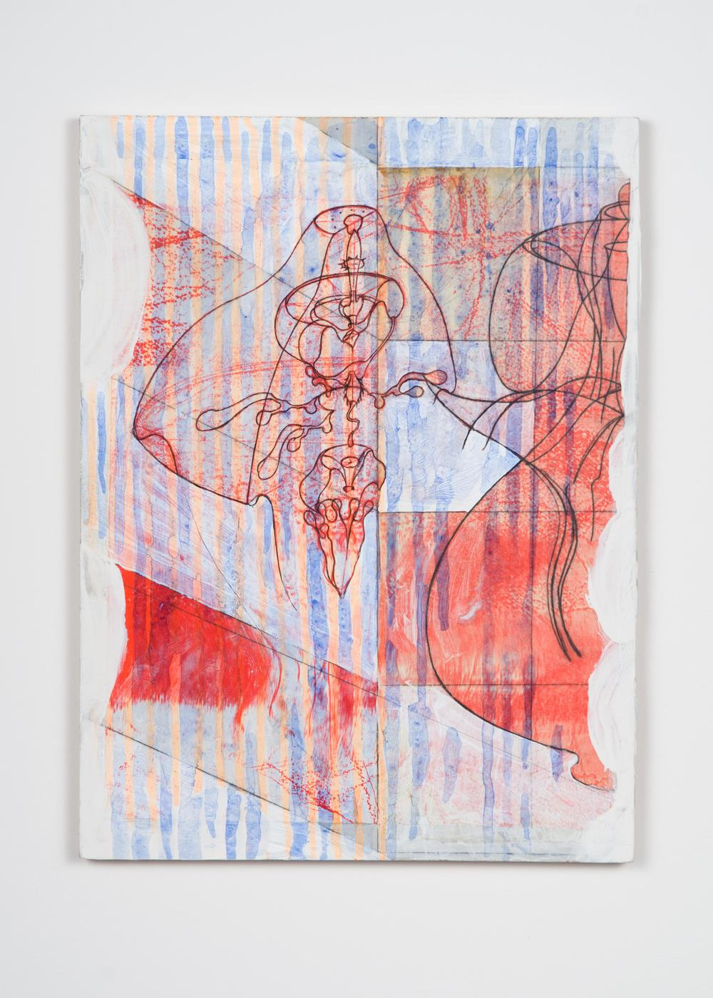 """ Untitled (Exile Sun Drawing) ""   Tristin Lowe   2014   Acrylic, Pencil, Ink, and Collaged Paper on Panel    12 5/8"" x 9 1/4"""