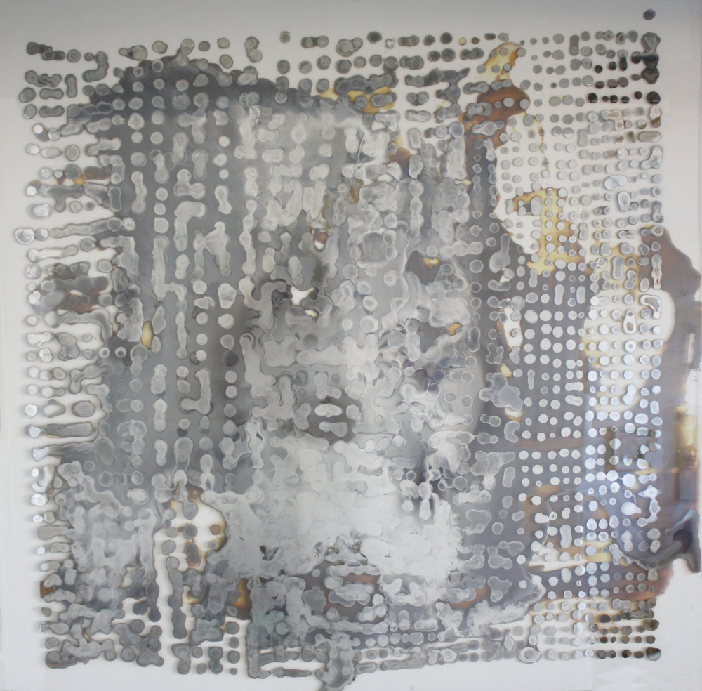 """Repeated forms: study no. 08""   Laura Sallade     2015    Silver nitrate on glass    32"" x 32"""