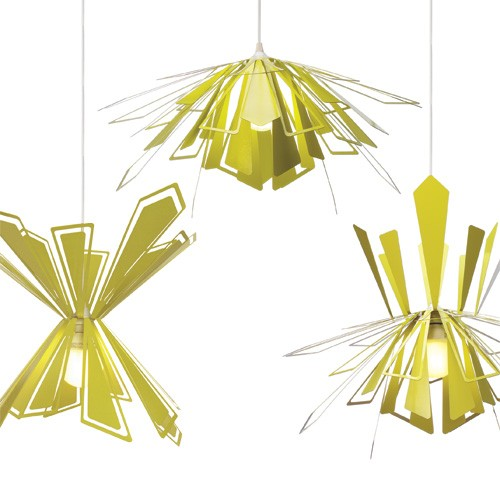 Bendant Lamp   MIO   The MIO Bendant Lamp is the only chandelier pendant lamp that can be customized by bending the shades. The Sputnik-like design is flat-packed for efficient transportation and consists of leaf-like shades surrounding a central fixture with a candelabra socket in the middle.   Retail Value: $185