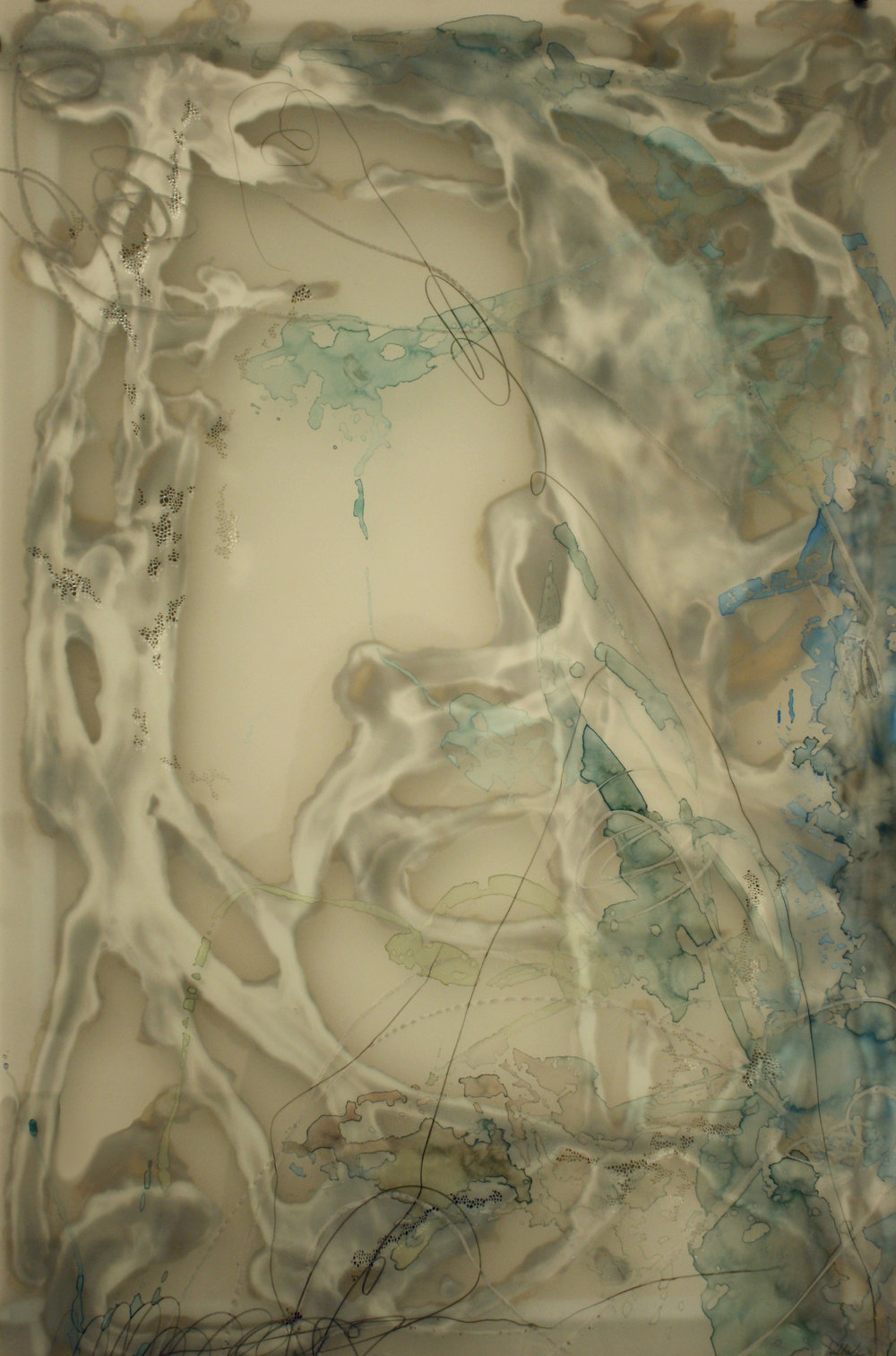 "Laura Sallade    Passing Moments: study no. 04 , 2016 Watercolor, pastel, graphite, hand-cut mylar, silver, glass  32"" x 24"""