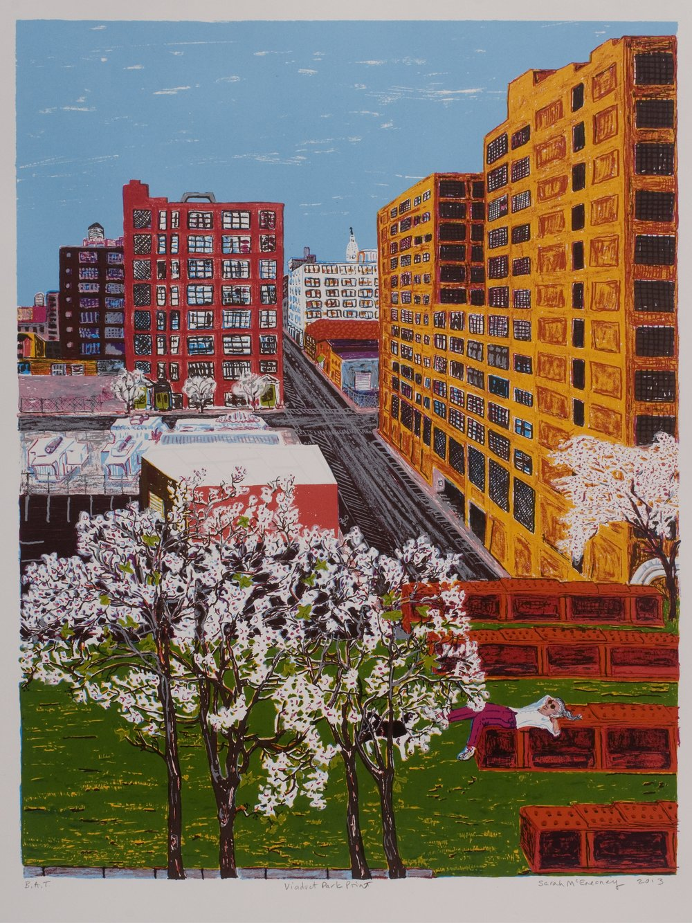 Sarah McEneaney   Viaduct Park Print  2013 Screenprint