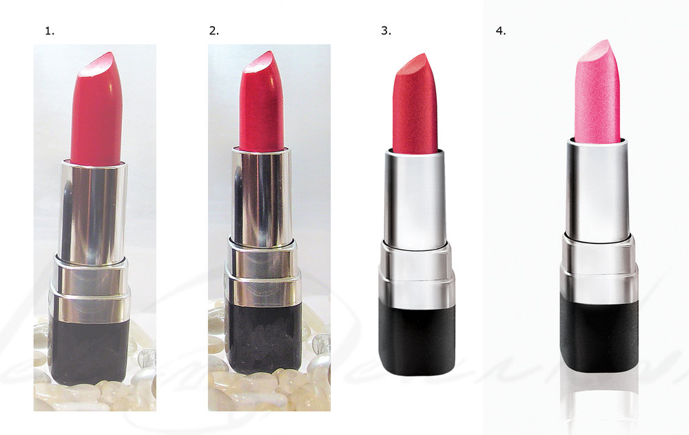 STEPS 1-4 illustrating color correction and re-rendering of the metal. Step 2: Fixed problematic perspective and adjust contrast. Step 3: Re-rendered the metallics and the texture of the lipstick.  Step 4: Increased the contrast and refine the product's shape. Changed the swatch color of the lipstick to match the companion photo.