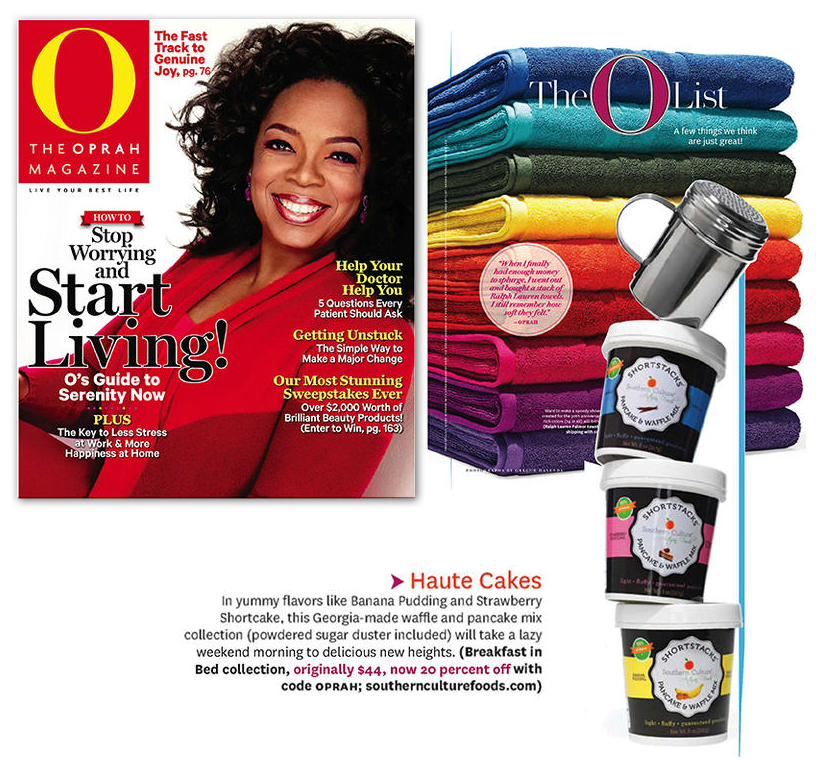 Package Design for Southern Culture Foods Pancake Mix, featured in   Oprah Magazine's O! List