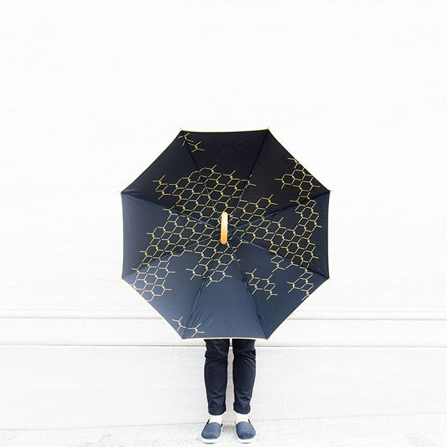 "HOTEL HIVE UMBRELLA FEATURING ""HIVE"" LOGO PATTERN — PHOTO BY  @HOTELHIVE"