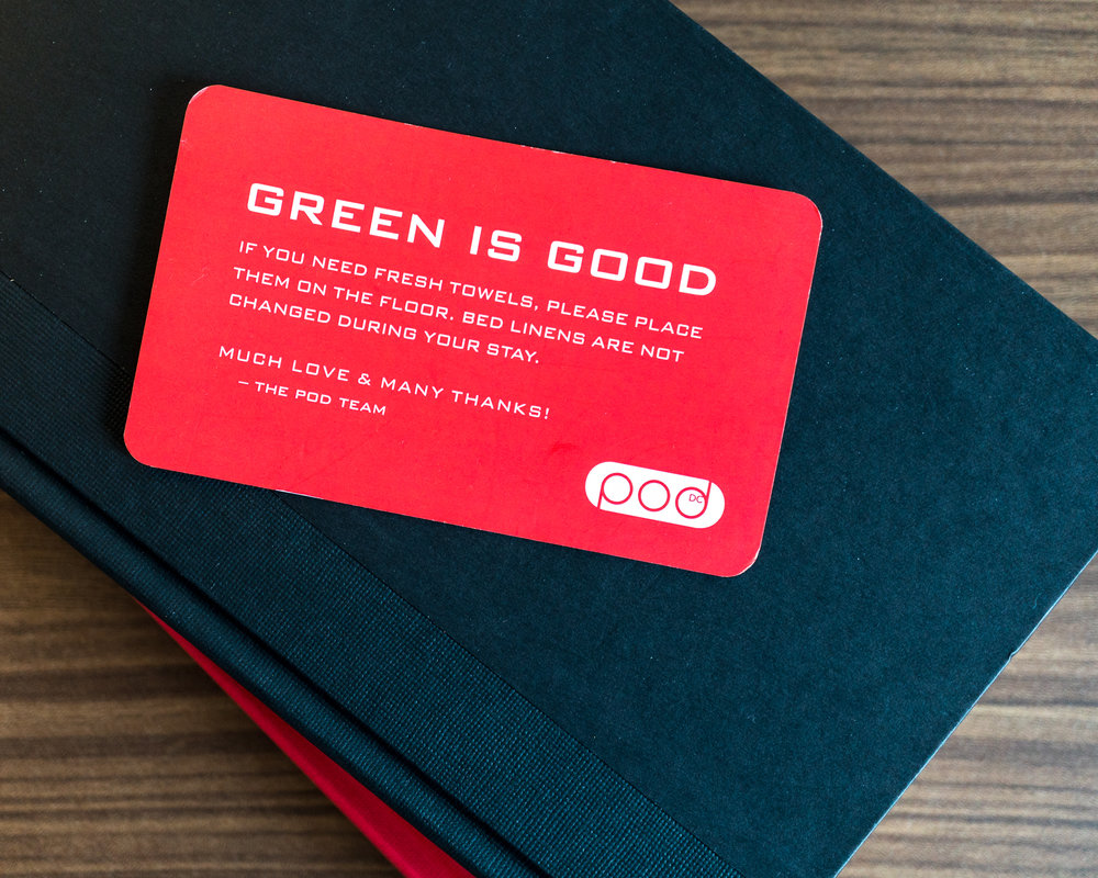 Environmental Awareness Hotel Card Design. Photo @podhoteldc