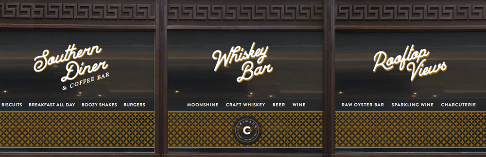 Vinyl Window Signage — Crimson Diner + Whiskey Bar at Pod Hotel DC