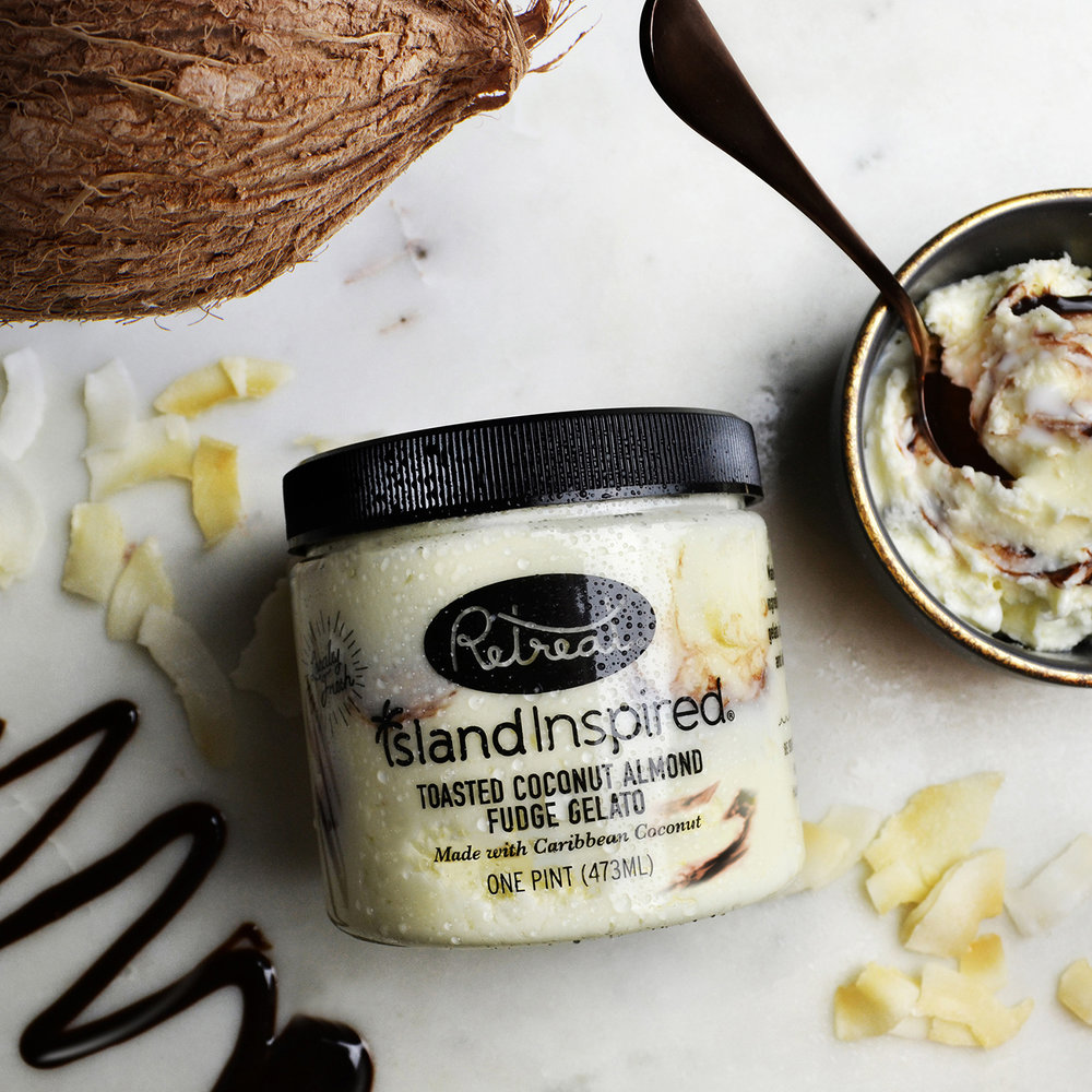 Island Inspired  Toasted Coconut Almond Fudge Gelato