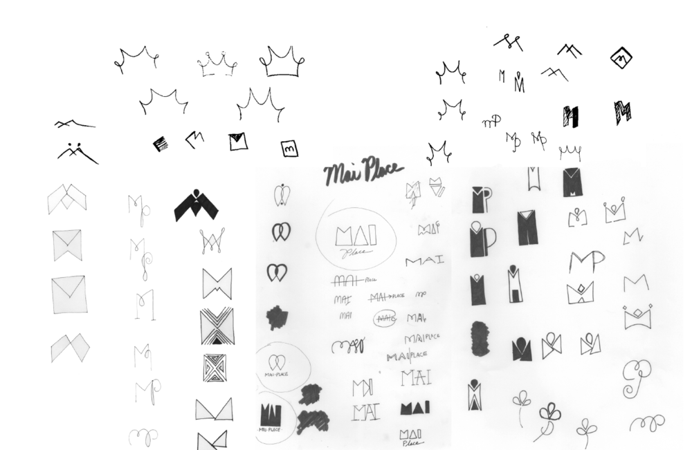 SAMPLING OF THE MAI PLACE LOGO SKETCH PROCESS