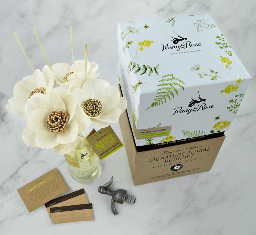 Magnolia Floral Bouquet Diffuser Set