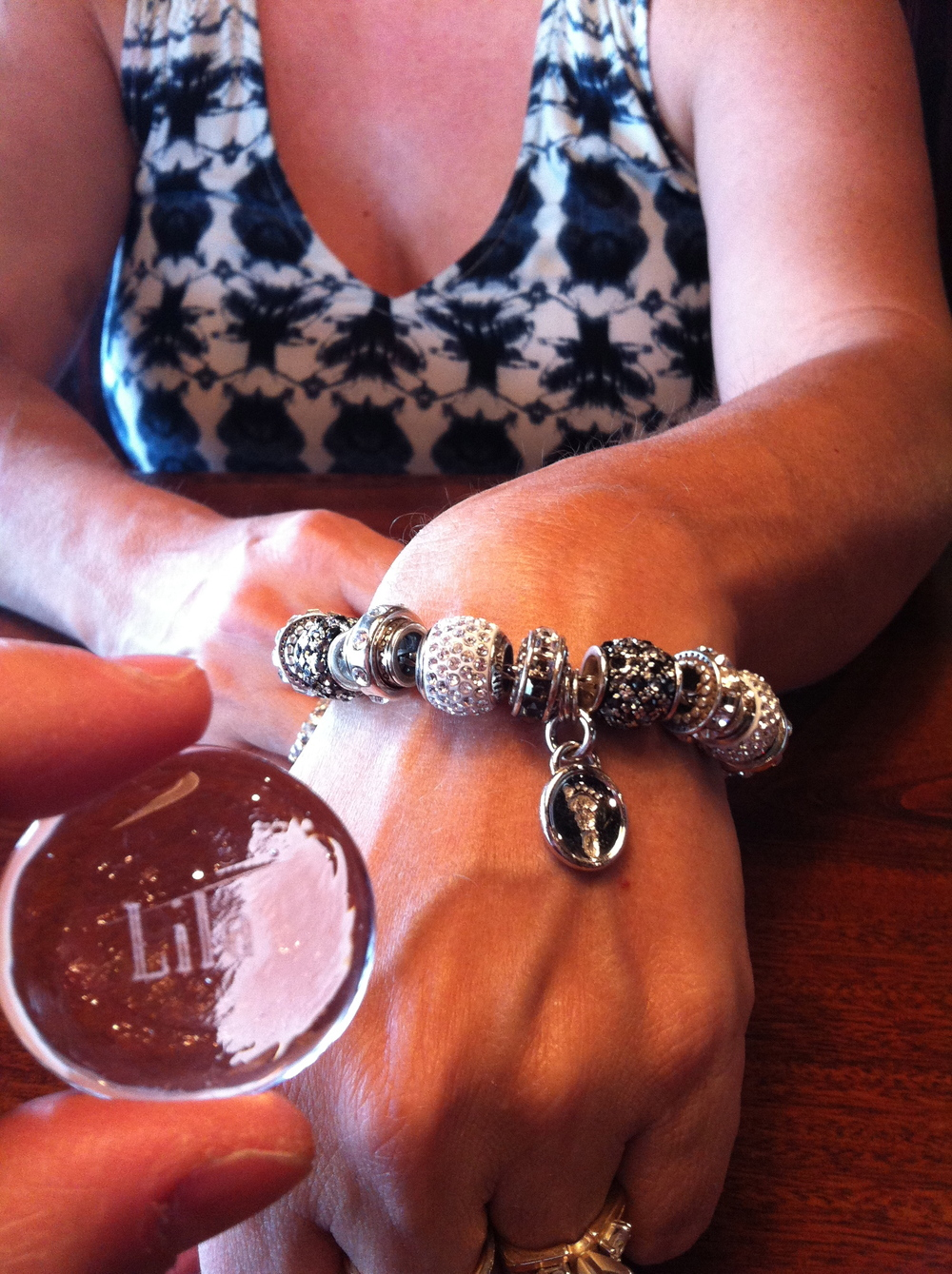 Lila stone with her footprint bracelet