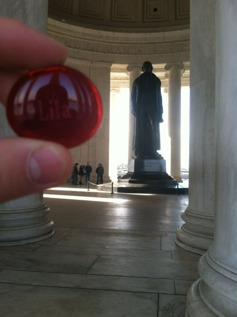 Lila at one of the best monuments (inside the Jefferson memorial)