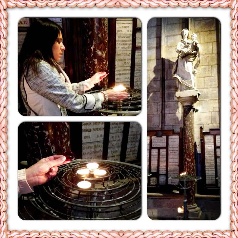 Candle lit for Lila by Blessed Mother statue at Notre Dame