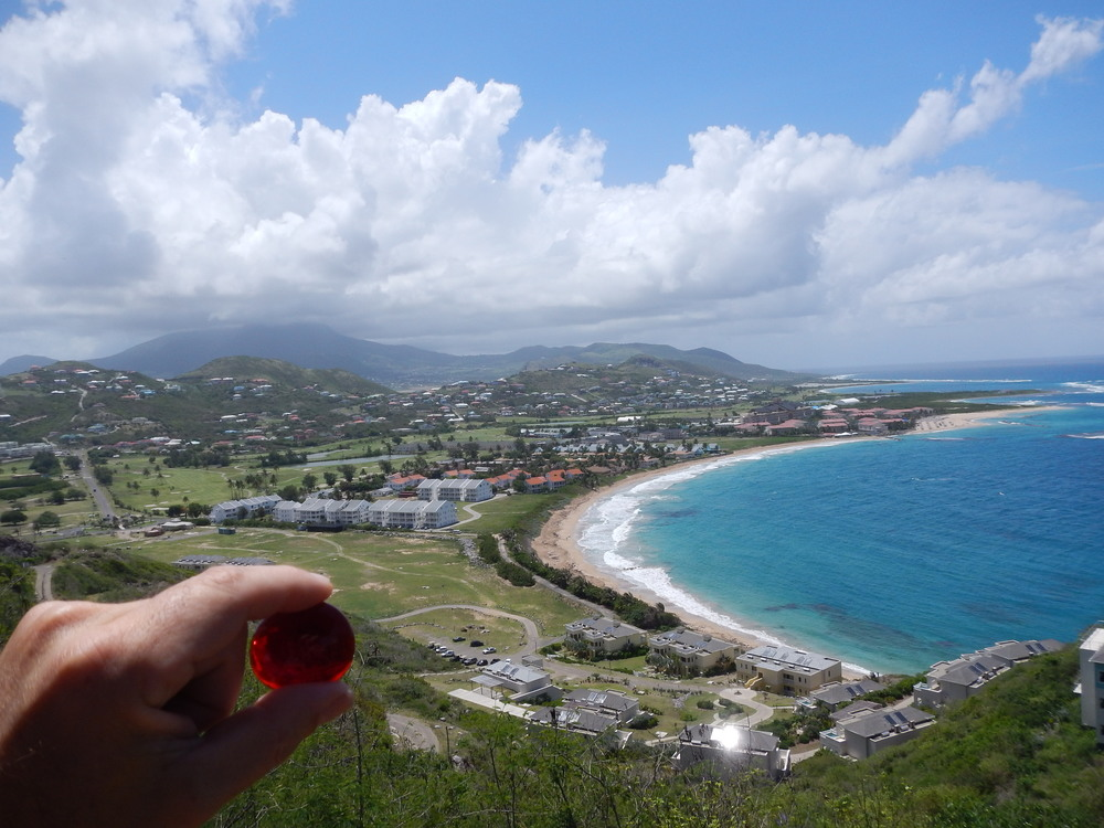 Lila taking in the sights, view of Frigate Bay St Kitts