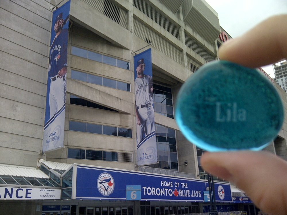 Lila rooting for the Blue Jays