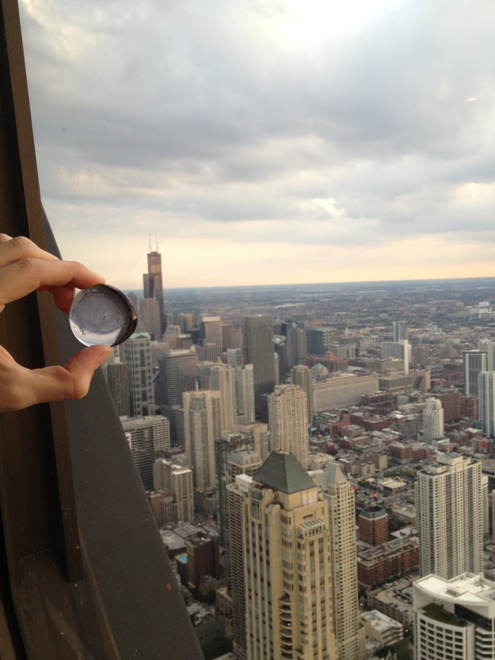 Lila stone at the 95th floor of the Hancock Building