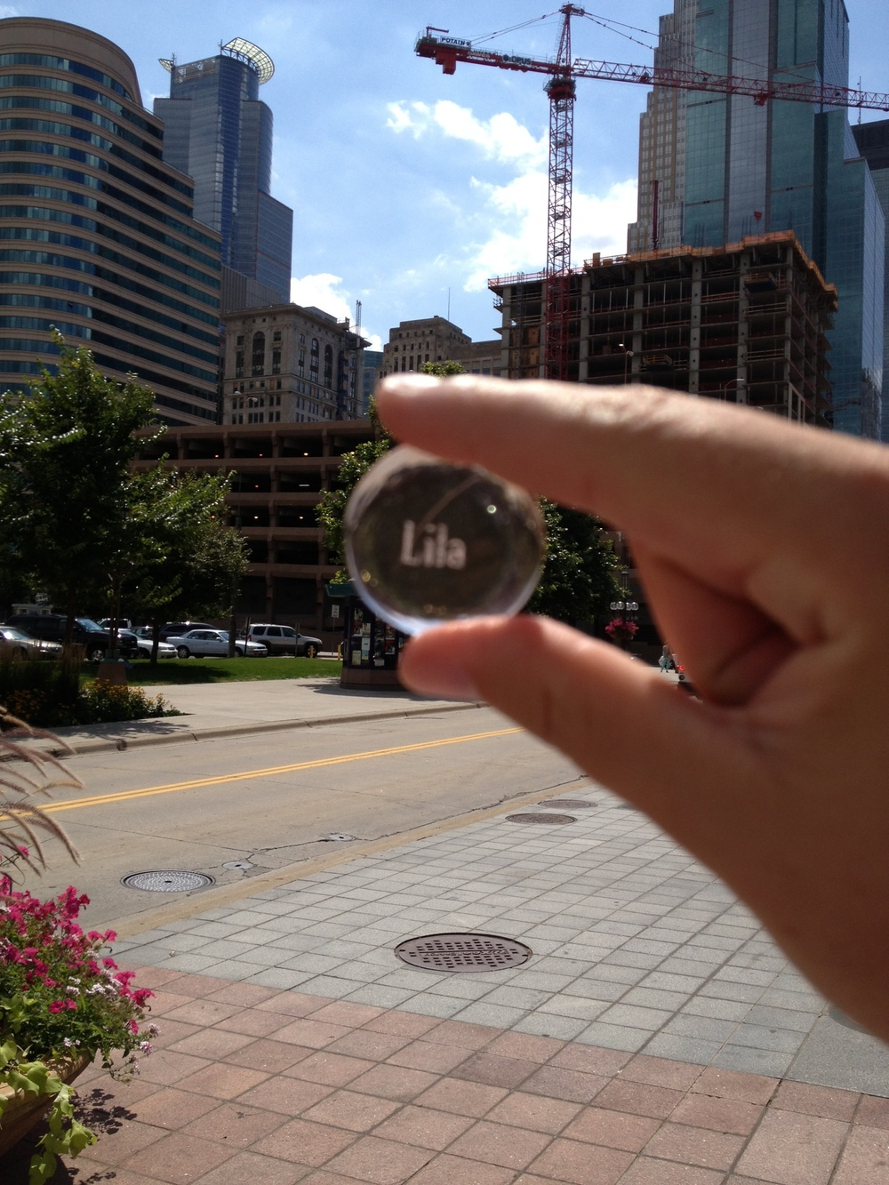 Lila stone in downtown Minneapolis