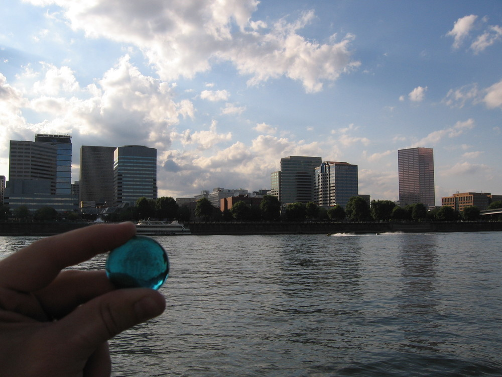 Lila stone with the downtown Portland skyline