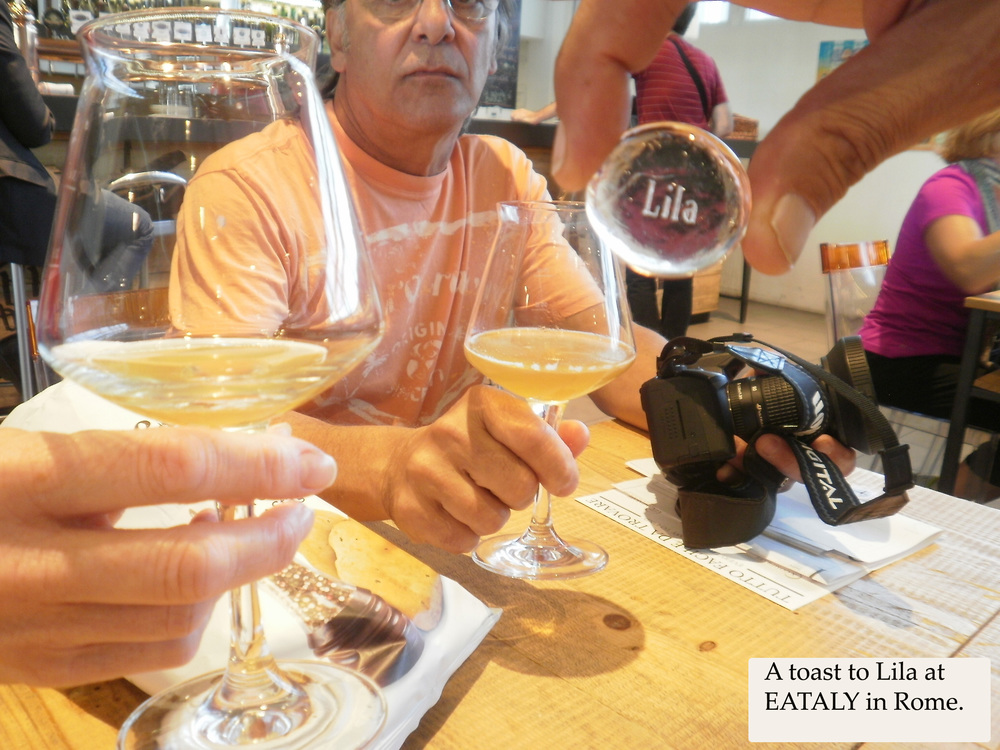 A toast to Lila at EATALY in Rome