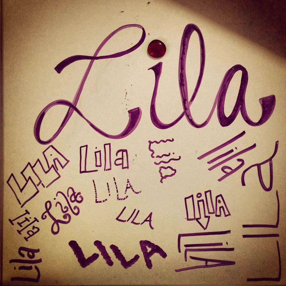 Lila stone with Lila's name collage