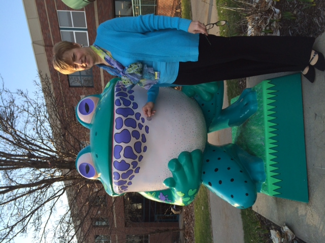 Lila stone with frog at Shriners Hospital