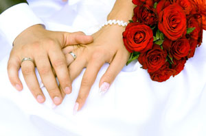 Bride and Groom Rings and Roses.