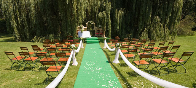 Non-traditional wedding ceremony location - park.