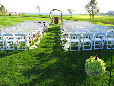 Non-traditional wedding ceremony location - lawn.