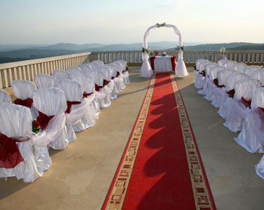 Non-traditional wedding ceremony location - mountaintop deck.
