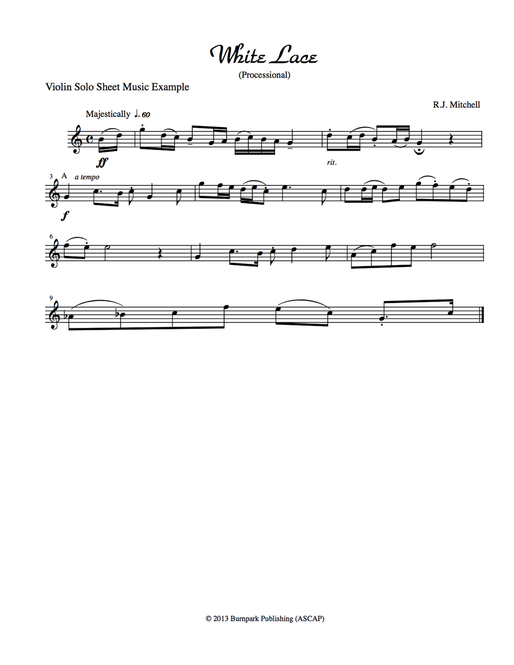 Violin Sheet Music Example
