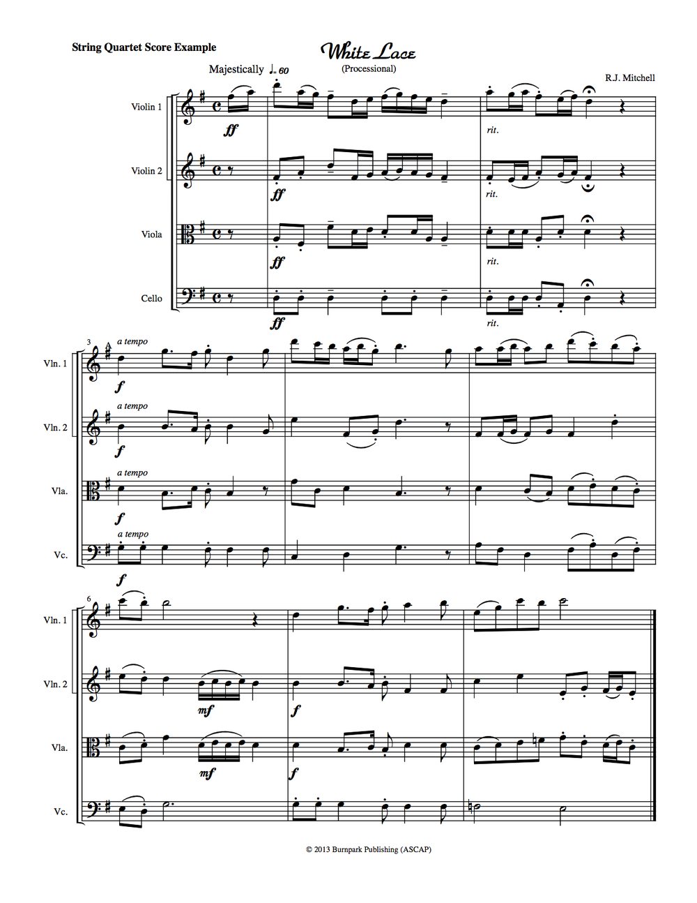 String Quartet Score Sheet Music Example